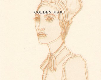 Studio Clearance Sale! High Fashion Meets Vintage in this Unique Art Print Woman in Golden Warm Hues