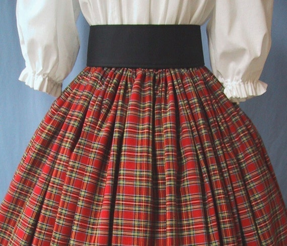 Tartan Plaid Long Skirt Ren Faire Costume Scottish