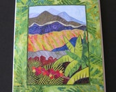 Art Quilt Note Card - Coffee Estate Inn
