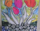Art Quilt Card - Tulip Patch