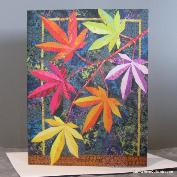 Art Quilt Note Card - Explosion of Color