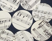 Sheet Music Circles- 100 vintage music paper circles, scrapbooking craft supplies, music party decor, wedding decorations