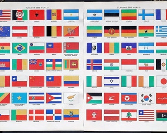World Flag Illustrations- 4 vintage full color illustrated encyclopedia pages, state flags, American flags, flag color plates,