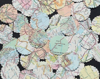 Map Paper Circles- 100 United States road atlas recycled circle paper punches, craft supplies, travel party decor, map wedding confetti