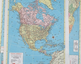 4 North America Vintage Maps- North America Map, Central America map, Canada map, United States map, and Mexico map atlas pages