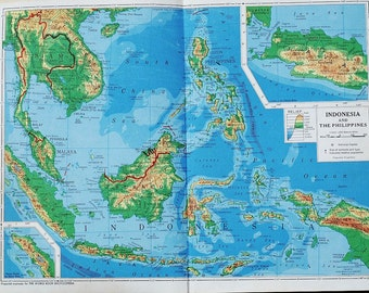 Vintage Indonesia Map, Vintage Map of The Philippines- 1940s Southeast Asia relief map, perfect for wall decor, or collage