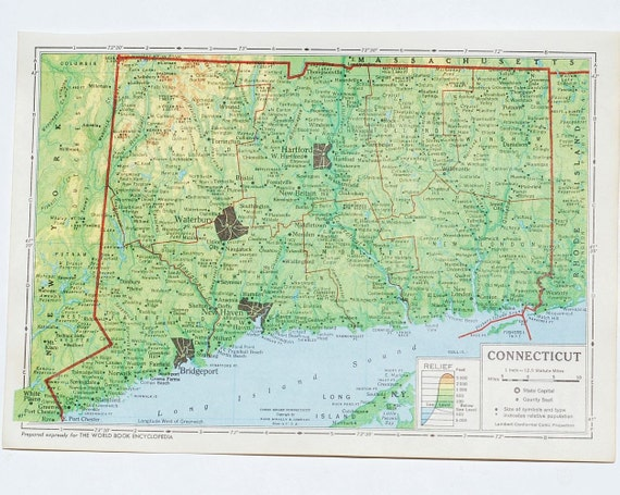 Vintage Connecticut Map- 1940's encyclopedia map, green relief map of Connecticut plus map of Connecticut's products & industries