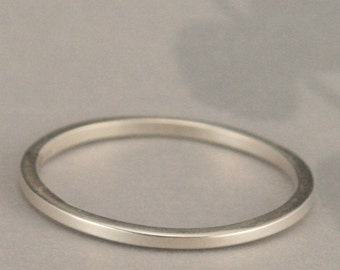 Silver Square Ring--Thin Flat Silver Ring--Silver Spacer Band--Super Skinny Stack Ring in Sterling Silver-Thin Polished Sterling Silver Band