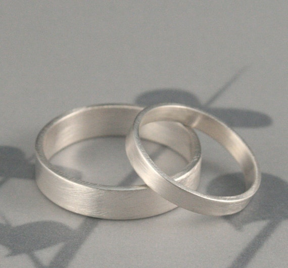 Silver Wedding Band Set--His and Hers Bands--Straight and Narrow Sterling Silver Flat Edge Wedding Ring Set Custom Made in YOUR Sizes