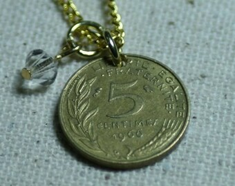 French Coin Necklace FREE SHIPPING