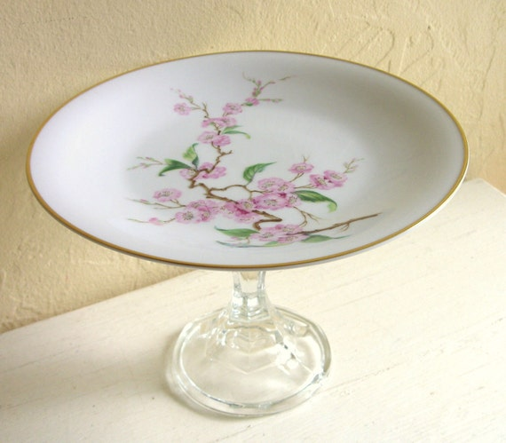 SALE - Upcycled Floral Cherryblossom Pedestal Dish Flowers Medium Size