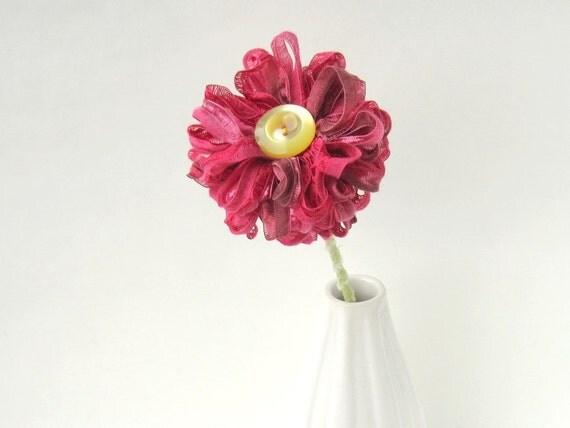 Deep Pink Ribbon Flower, raspberry pink, home decor