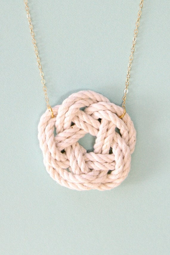 Nautical jewelry - sailor knot necklace - nautical necklace - gold necklace - nautical wedding jewelry - beach wedding - knot jewelry