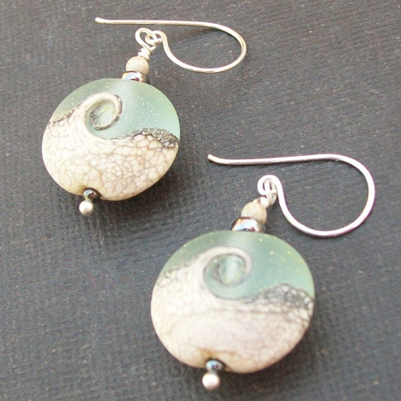 lampwork earrings silvered ivory with frosted aqua swirl beads-seafoam