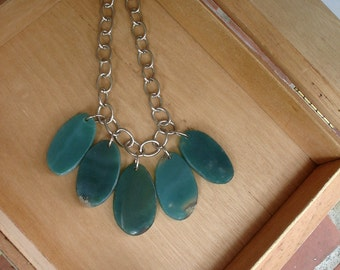 Teal Agate Slice Bib Necklace on Silver Chain