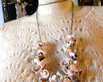 RICHARME Long Curly Shell Necklace in Pink and Brown on Chain