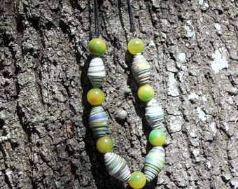 RICHARME  Fair Trade Paper Beads with Yellow and Green Agate