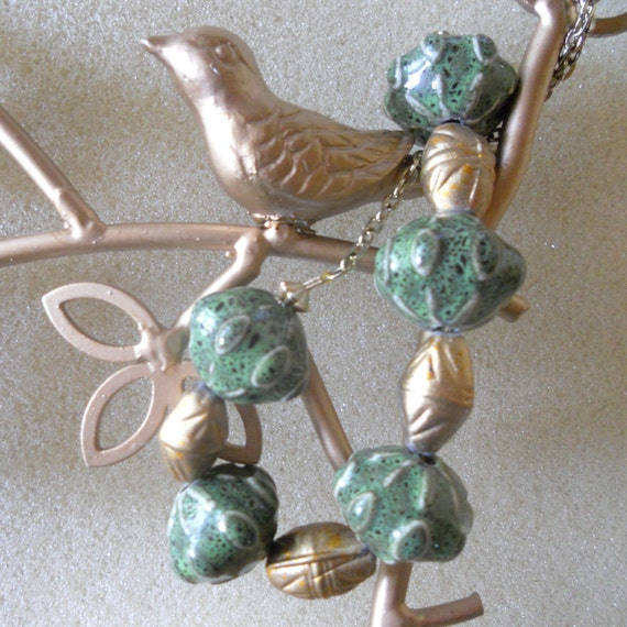 Green Glazed Pottery Beads with Art Deco Gold Beads Necklace