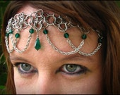 The Emerald Green crystal Flowerette chainmail headband/choker crown chainmaille