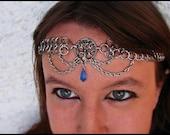 Tree of life chainmail headband/choker Pagan Nature Crystal Sapphire Blue