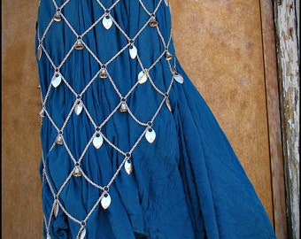 Chainmail Chainmaille Bellydancing Bells Fishnet Wrap Skirt Gypsy Sparkle Large
