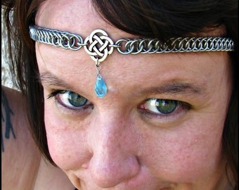 The Aquamarine Blue Celtic chainmail headband/choker chain maille knot crown