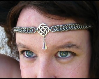 The Crystal Clear Celtic chainmail headband/choker chain maille knot crown