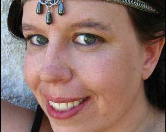 The Natural Hematite Aurora chainmail headband/choker necklace chainmaille crown