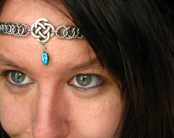 The Emerald Green Celtic chainmail headband/choker chain maille leaf crown