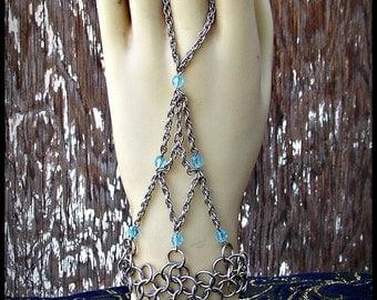 Chainmail handweb handflower slave bracelet stainless steel Aqua Blue