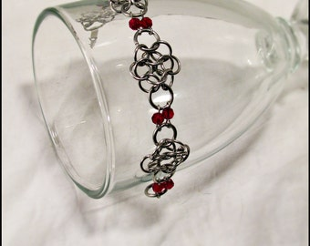 Chainmail stainless steel  flowerette bracelet Ruby red crystal