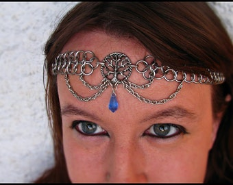 Tree of life chainmail headband/choker Pagan Nature Crystal Sapphire Blue