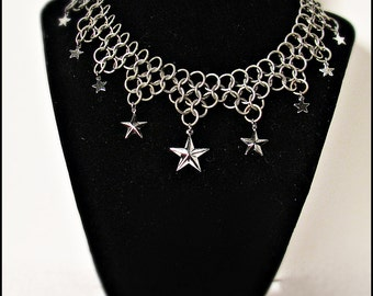 Celestial Stars Elegant Stainless Steel Chainmail Chainmaille choker necklace