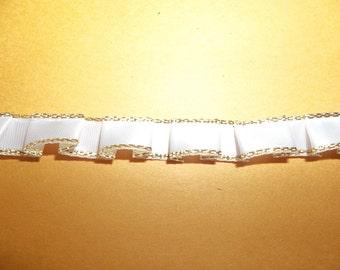 "12+Yard Box Pleat Trim Metallic Gold White Satin Mini Ruffle Ribbon Edging 3/8"" Wide"