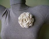 One Handmade Crocheted Rose Brooch in Off-white/ Cream / Light Ivory