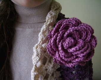 Girls Crochet 3/4 Length Sleeves Bolero Shrug in Purple With Two Removable Rose Pins