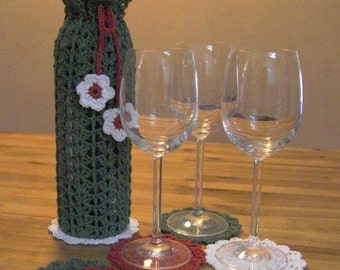 Original Gifts - The Gift Complete Set of Crocheted Wine Glass Coasters Set and Wine Bag for Christmas