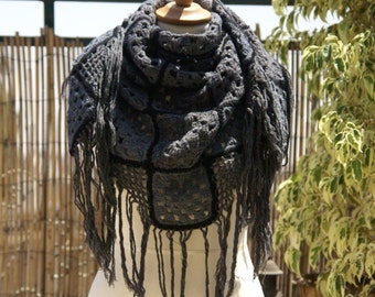 Crocheted gray & black shawl with fringes
