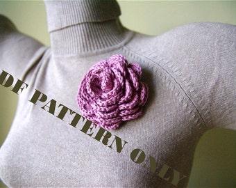 PDF CROCHET PATTERN - One Handmade Crocheted Rose Pin