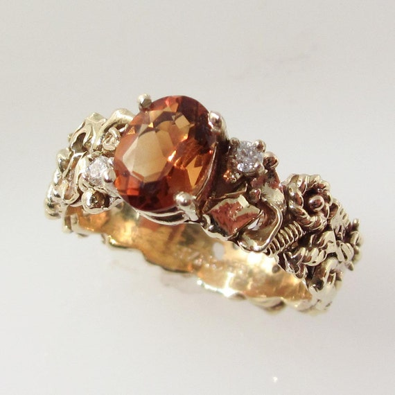 Industrial Citrine Engagement Ring
