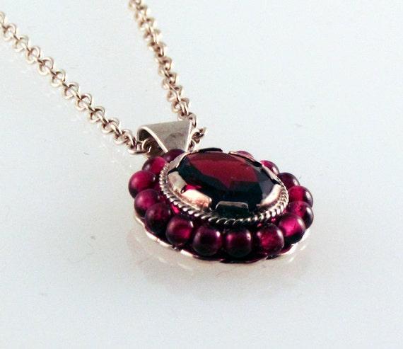 Deep Red Garnet Gemstone & Bead Necklace