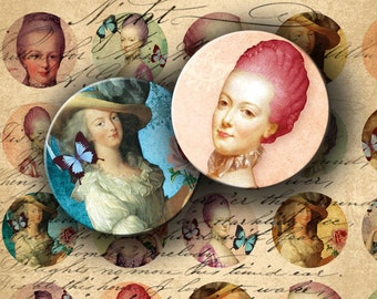 INSTANT DOWNLOAD Marie Antoinette 1 inch Circles for your Artwork - DigitalPerfection digital collage sheet 610