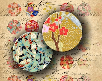 INSTANT DOWNLOAD Digital Collage Sheet Chiyogami Washi Yuzen Japanese Paper 1 inch Circles - DigitalPerfection digital collage sheet 148