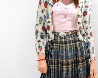 Preppy High Waist Vintage 70s Check Plaid Pleat Full Wool Skirt XS To S