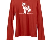 SALE, Half Price, 2X red, Cat shirt, Womens Cat tshirt, cat lady, long sleeved crew neck tee, cat lover, cat lady, fall fashion, Abby Cat