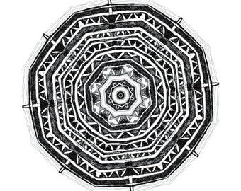 Nature Life - art print pattern design print mandala art black and white art ink drawing original art fine original work