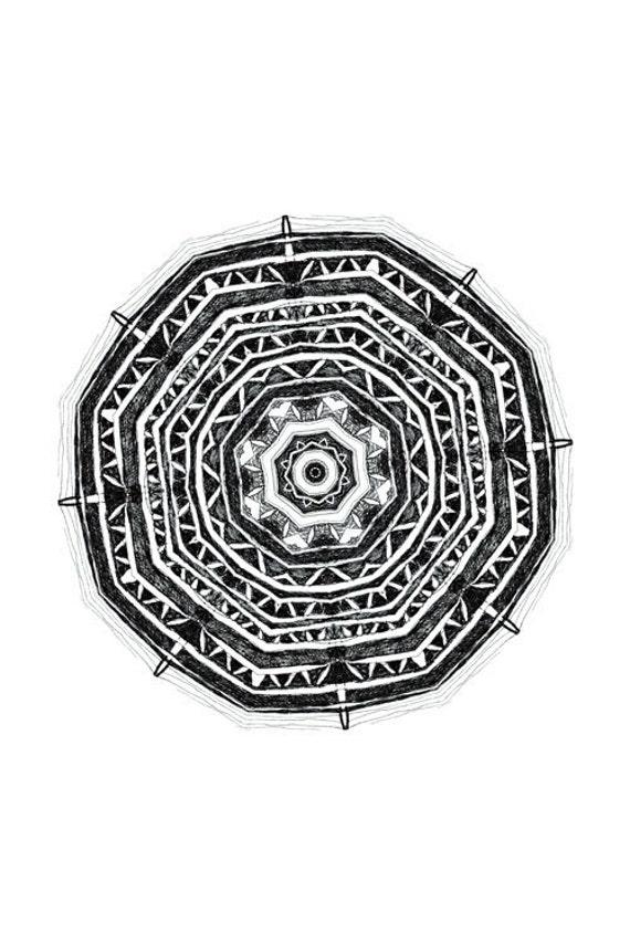 Nature Life - art print pattern design print mandala art black and white art ink drawing original art fine original work
