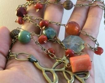 Brass Leaf Gemstone Necklace