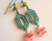 Verdigris Art Deco Earrings Vintage Pink Branch Coral Art Deco Jewelry Coral Teal Aqua