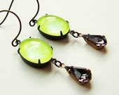 Neon Lime Earrings Vintage Glitter Domed Glass Cabochons Green Grey Spring Jewelry